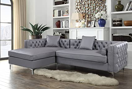 Iconic Home Da Vinci Tufted Silver Trim Grey PU Leather Left Facing  Sectional Sofa With Silver