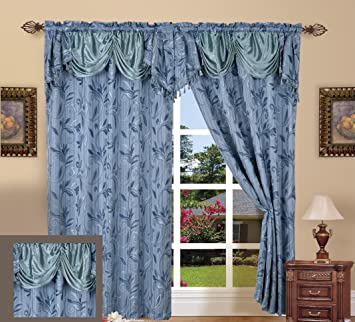 Elegance LinenLuxury Design Jacquard Curtain Panel Set With Attached Valance  55u0026quot; X 84 Inch (