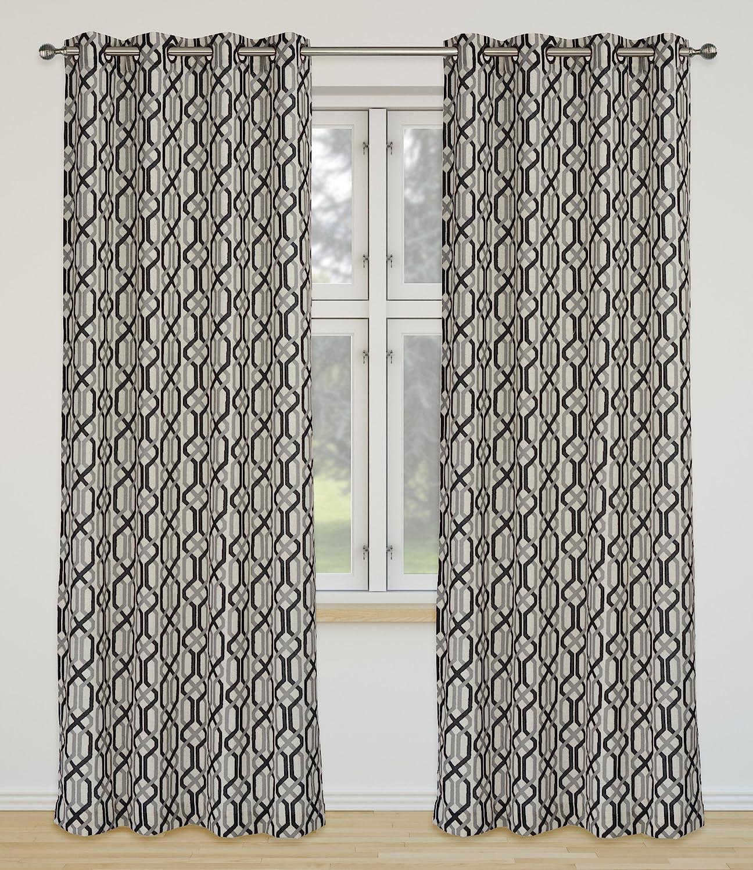LJ Home Fashions Linked Geometric Linen Grommet Curtain Panels (Set of 2), 52x95-in, Ivory/Black/Grey