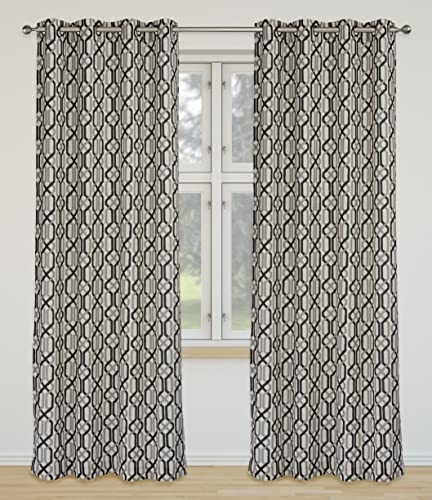 LJ Home Fashions Linked Geometric Linen Grommet Curtain Panels Set of 2