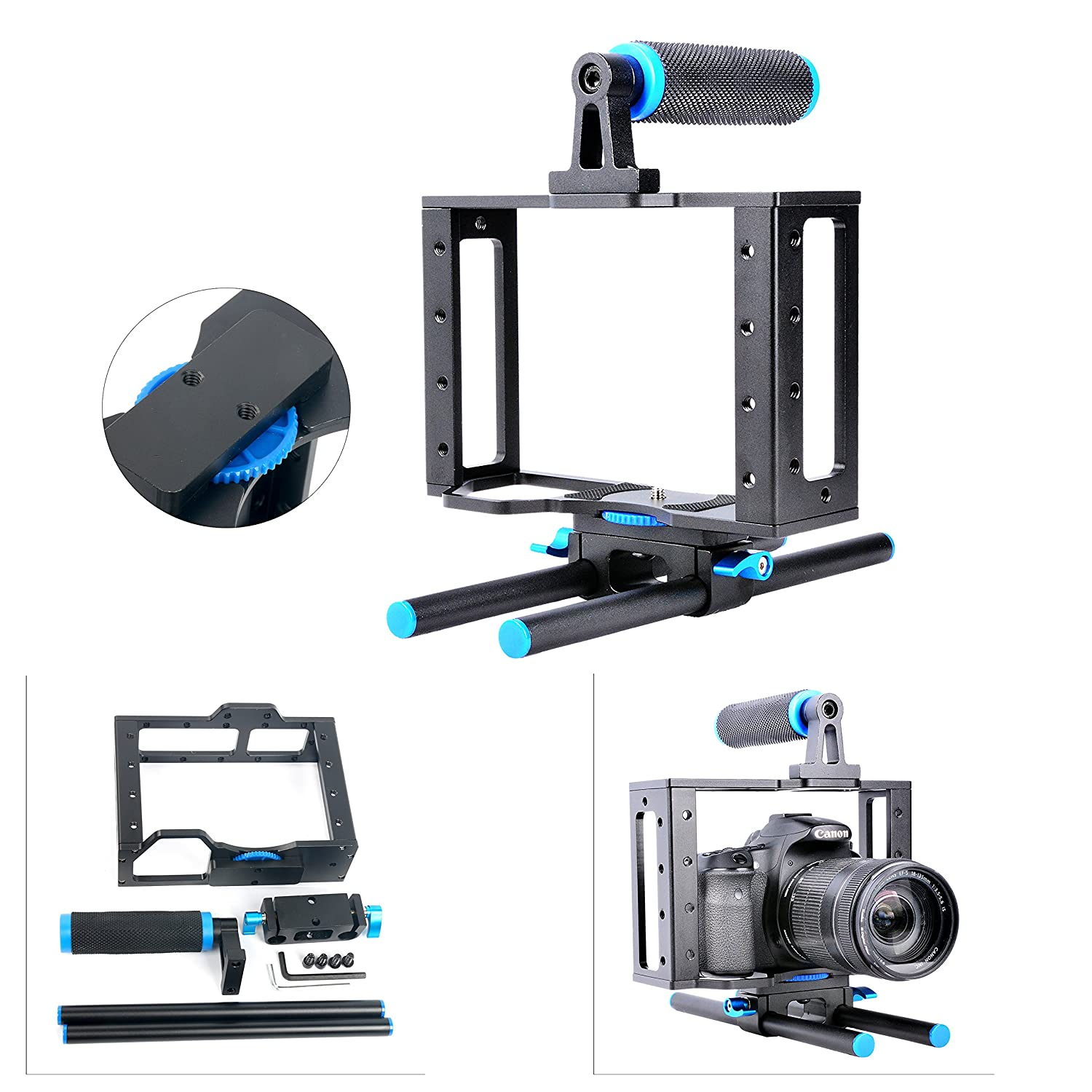 YaeCCC Aluminum DSLR Camera Cage Kit With 15mm Rod Rig For Nikon Pentax Canon Sony and Other DSLR Camera to Mount Microphones, Monitor, Sound Recorders, Top Handle, Tripod, Follow Focus Yaemart Corportation