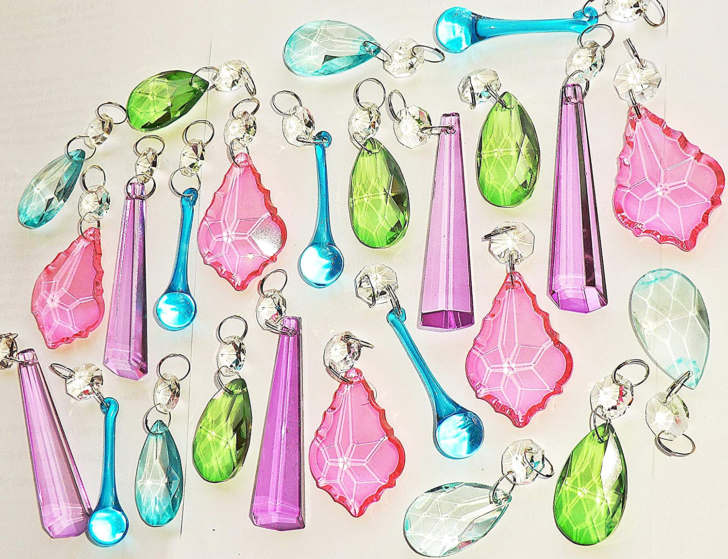 25 Chandelier Drops Light Pastel Colours Crystals Beads Cut Glass Pendant Droplets Lamp Parts