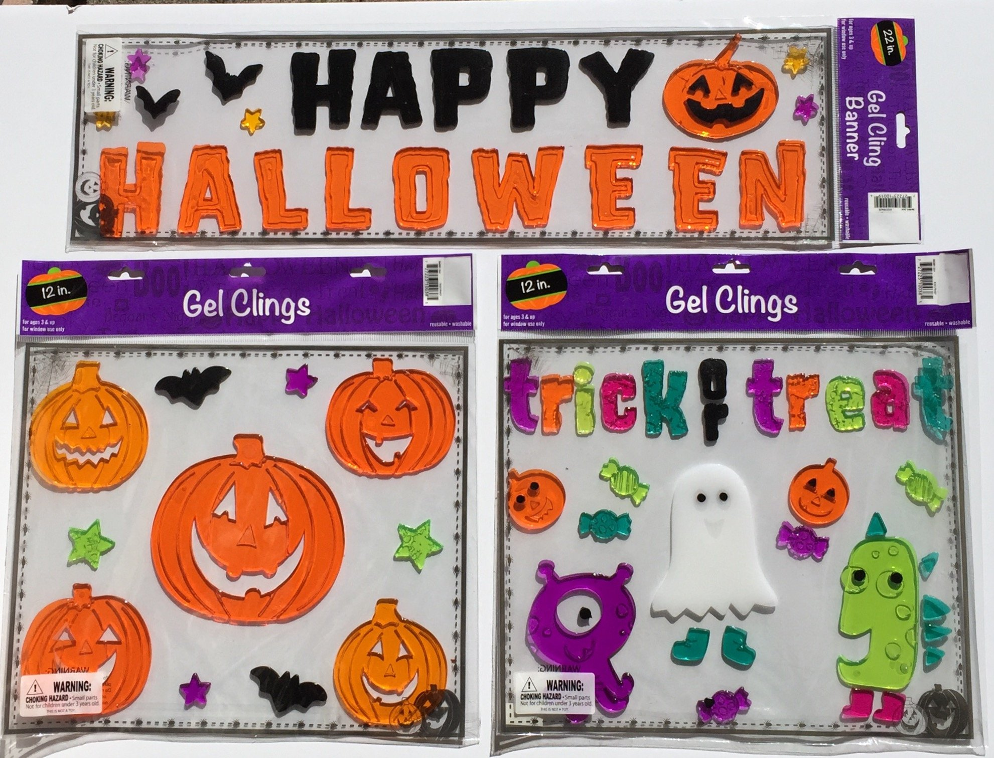 Happy Halloween Variety of Three (3) Gel Window Cling Trick or Treat Party Decoration, Silicone Gel. Monster, Pumpkins, Ghosts, Bats (3 Items)