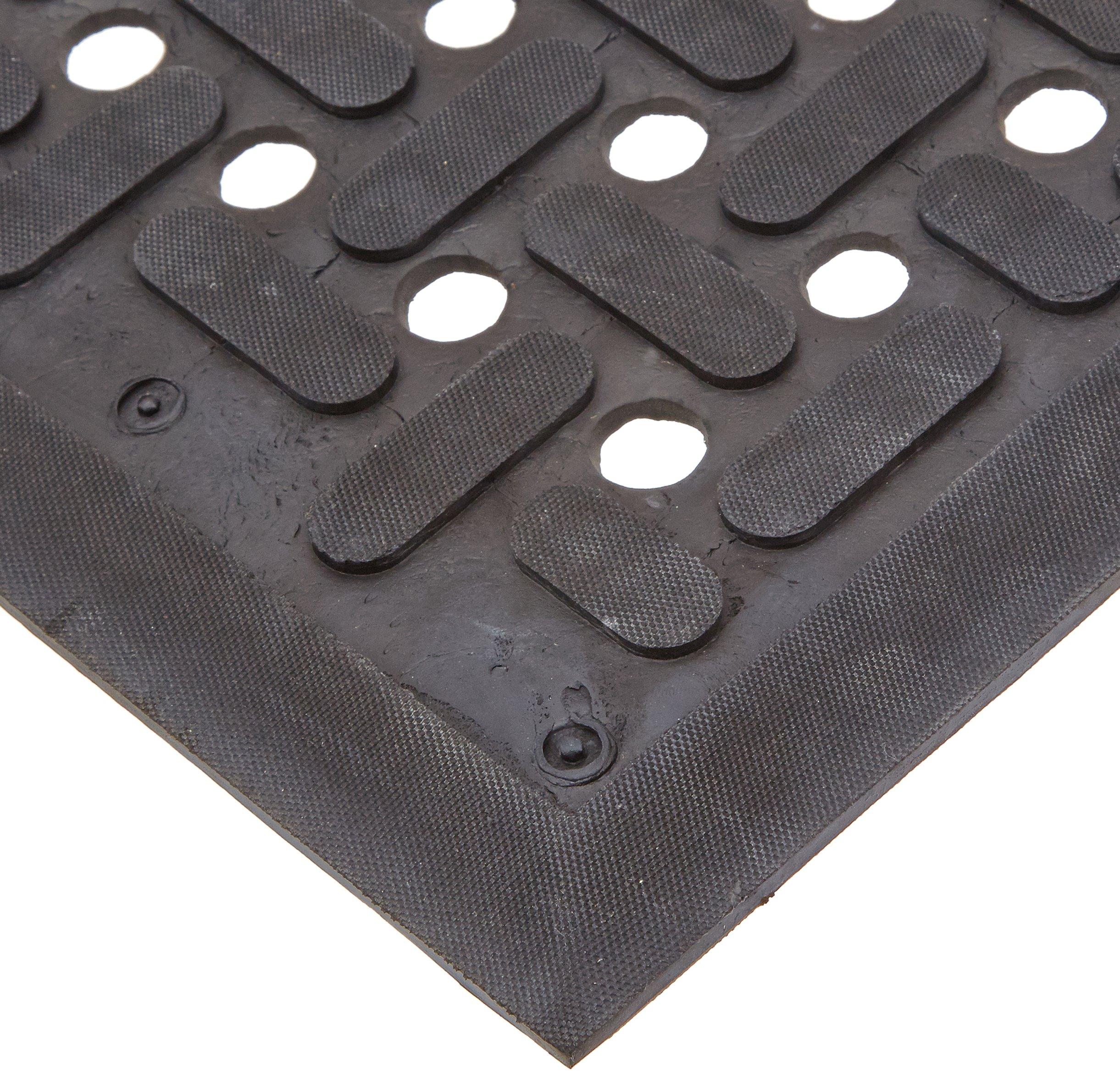 Rhino Mats UM3660 Uni-Mat Resilient Rubber All Purpose Entry Mat, 3' Width x 5' Length x 3/8'' Thickness, Black