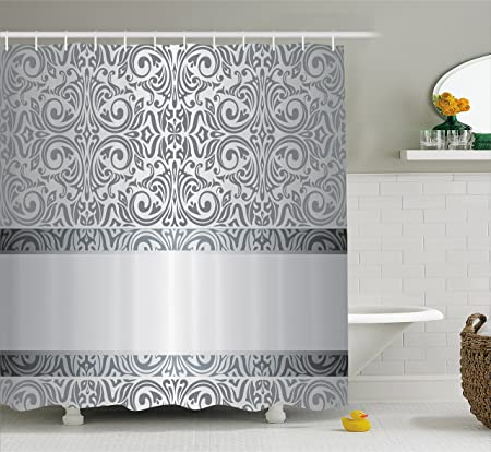 Silver Shower Curtain By Ambesonne Baroque Damask Curves Rococo New Rococo Decorative Wall Tile
