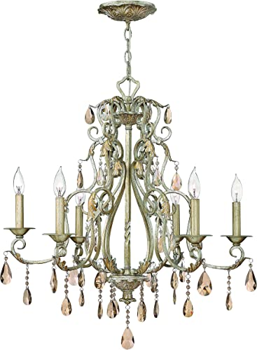Hinkley 4776SL Crystal Accents Six Light Foyer from Carlton collection in Pwt, Nckl, B S, Slvr.finish,