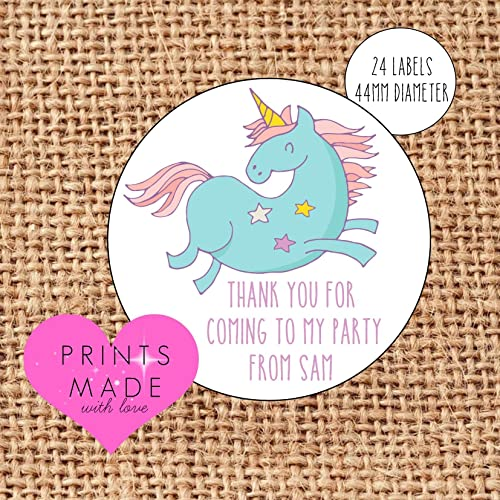 personalised unicorn party bag stickers thank you for coming 24