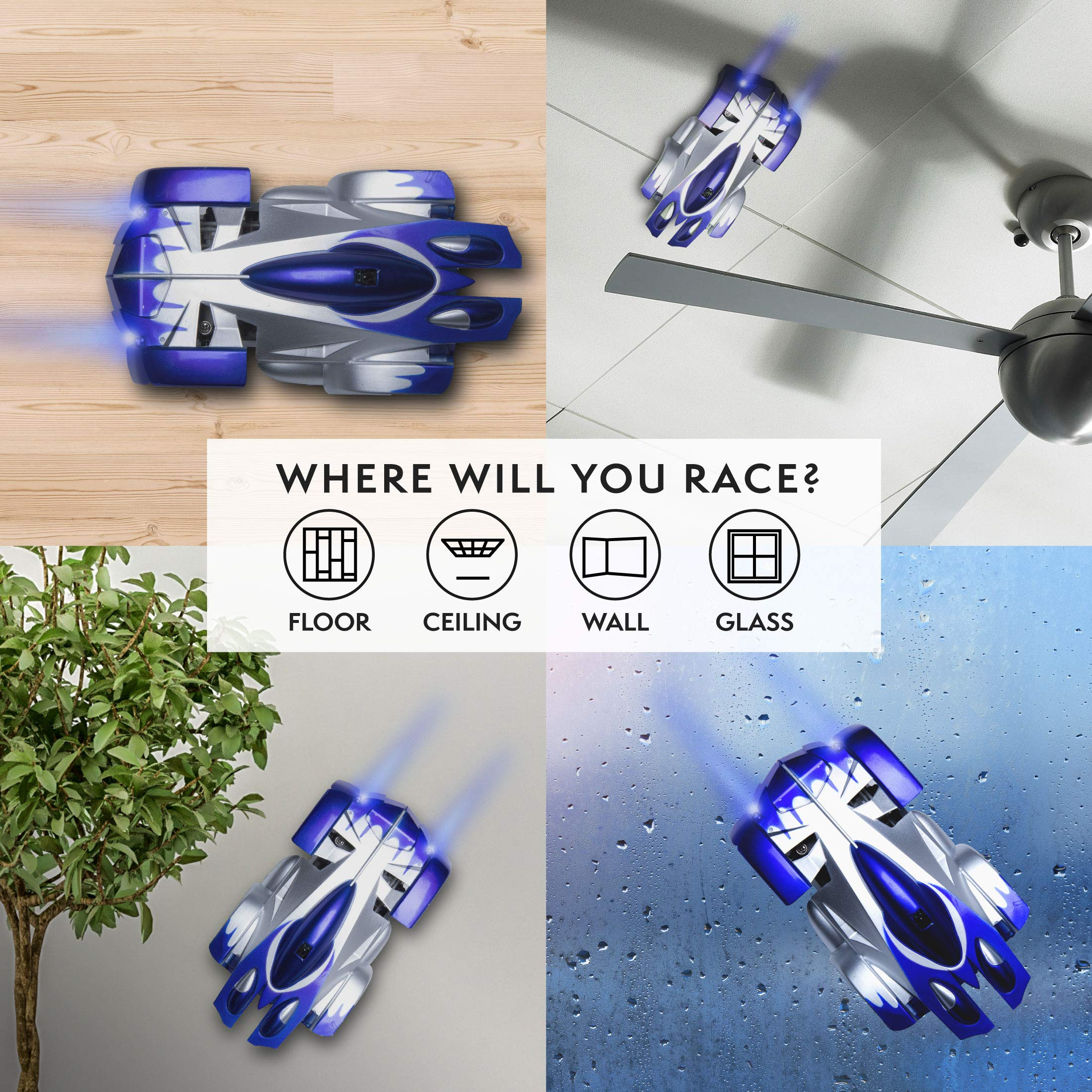 Force1 Gravity Defying RC Car - Remote Control Car for Floor or Wall Rechargeable Fast RC Car (Blue) by Force1 (Image #2)