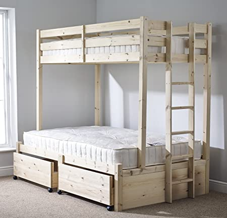 Pine Triple sleeper bunk bed with Storage drawer- 4ft 6 double Three
