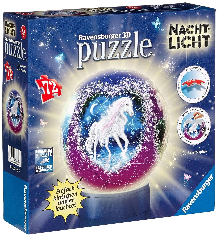 Ravensburger 12149 - Einhörner, Nachtlicht puzzleball, 72 Teile Puzzle Ravensburger Spieleverlag 121496 Fantasietiere