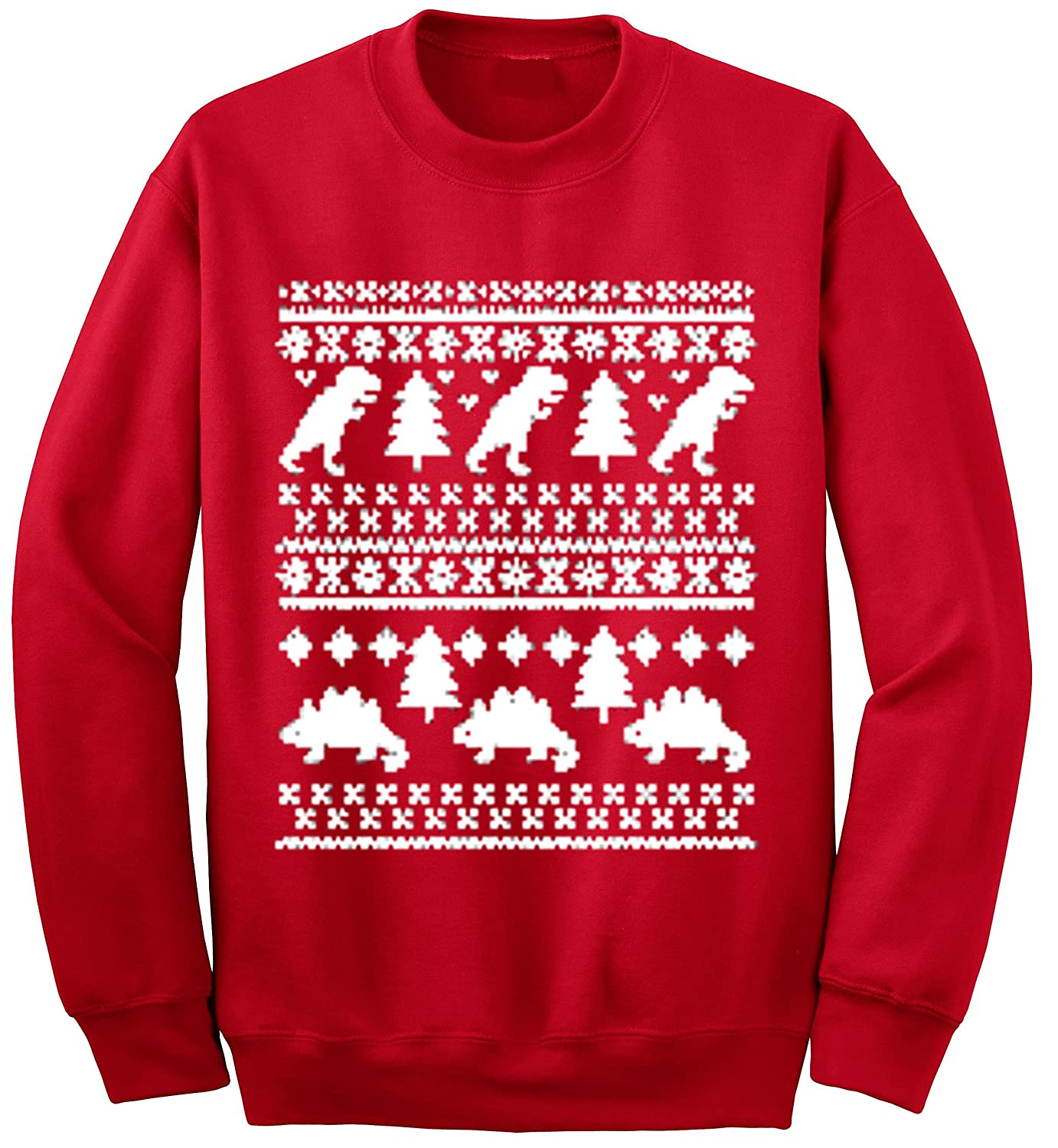 Ym Wear Adult Dinosaurs Trees T Rex Ugly Christmas Sweater Crewneck