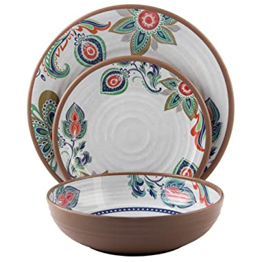 Melange 12-Piece Melamine Dinnerware Set (Flowers in Clay) | Shatter-Proof and Chip-Resistant Melamine Plates and Bowls | | Dinner Plate, Salad Plate & Soup Bowl (4 Each)
