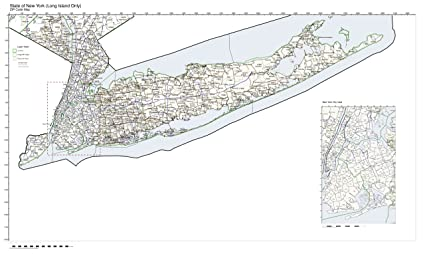 Amazon Com Zip Code Map State Of New York Long Island Only Not