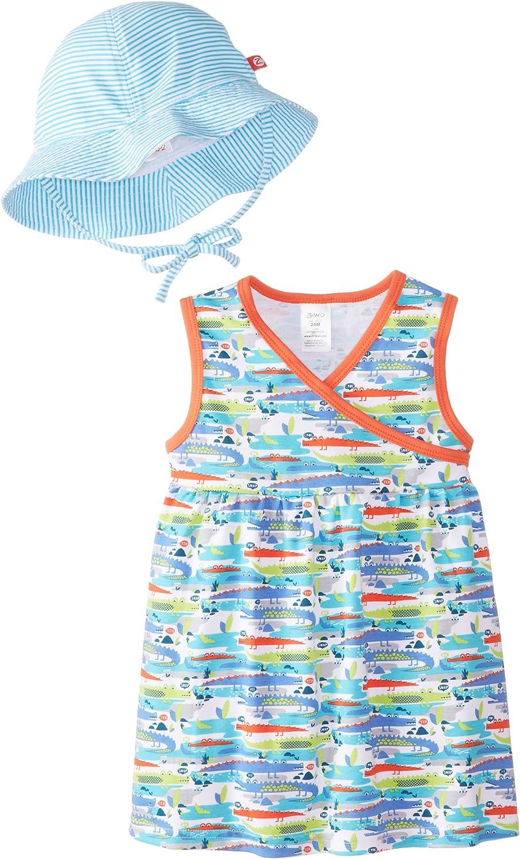 Zutano Baby Girls Crocs Surplice Dress and Sunhat Set