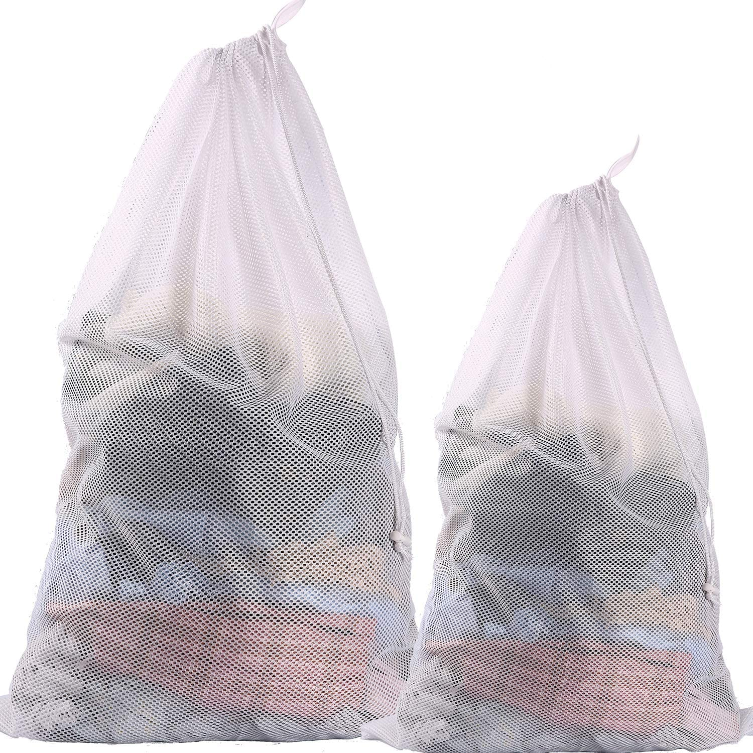 BAGAIL Set of 2 Sturdy Coarse Mesh Laundry Bag - 2 Extra Large&1 Large with Drawstring Closure for College, Dorm and Apartment Dwellers(2 Set Coarse Mesh)