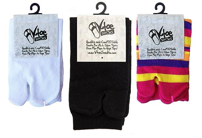 dfd8805b2589 Big Toe Flip-Flop 3 Pairs V-Toe Socks Stylish Fun Casual Cotton ...