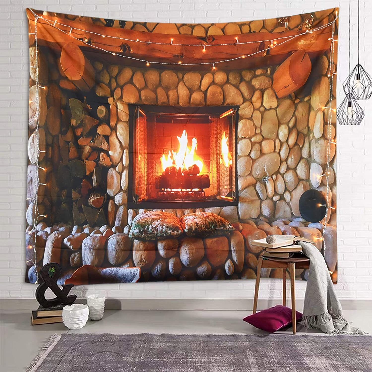 fangzhuo Christmas Tapestry Fireplace Wall Tapestry Retro Stone Wall Hanging for Bedroom Livingroom Party Dorm Decro W90 x L71