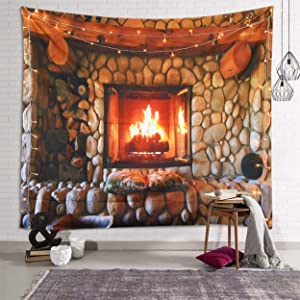 fangzhuo Christmas Tapestry Fireplace Wall Tapestry Retro Stone Wall Hanging for Bedroom Livingroom Party Dorm Decro W59 x L51
