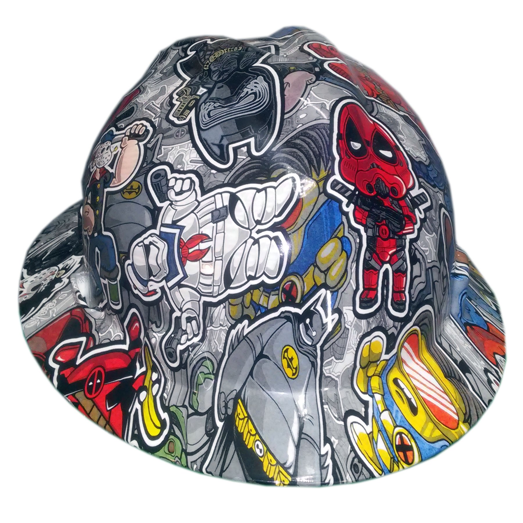 Izzo Graphics Twisted Toons MSA V-Guard Full Brim Hard Hat