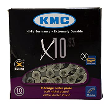 SILVER KMC X10.93 CHAIN 10 SPEED 116 LINKS