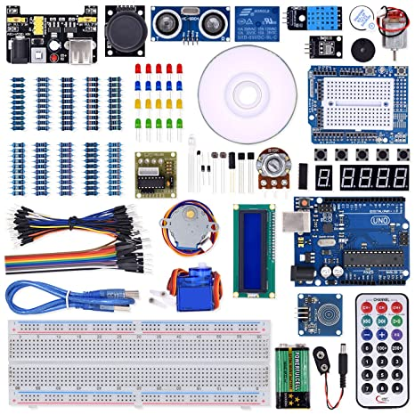 WeiKedz UNO Project Super Starter Kit with Lessons CD, Relay, UNO R3,  Jumper Wire, SG90 Servo, Joystick Module, Ultrasonic Sensor, DHT11, ect   for