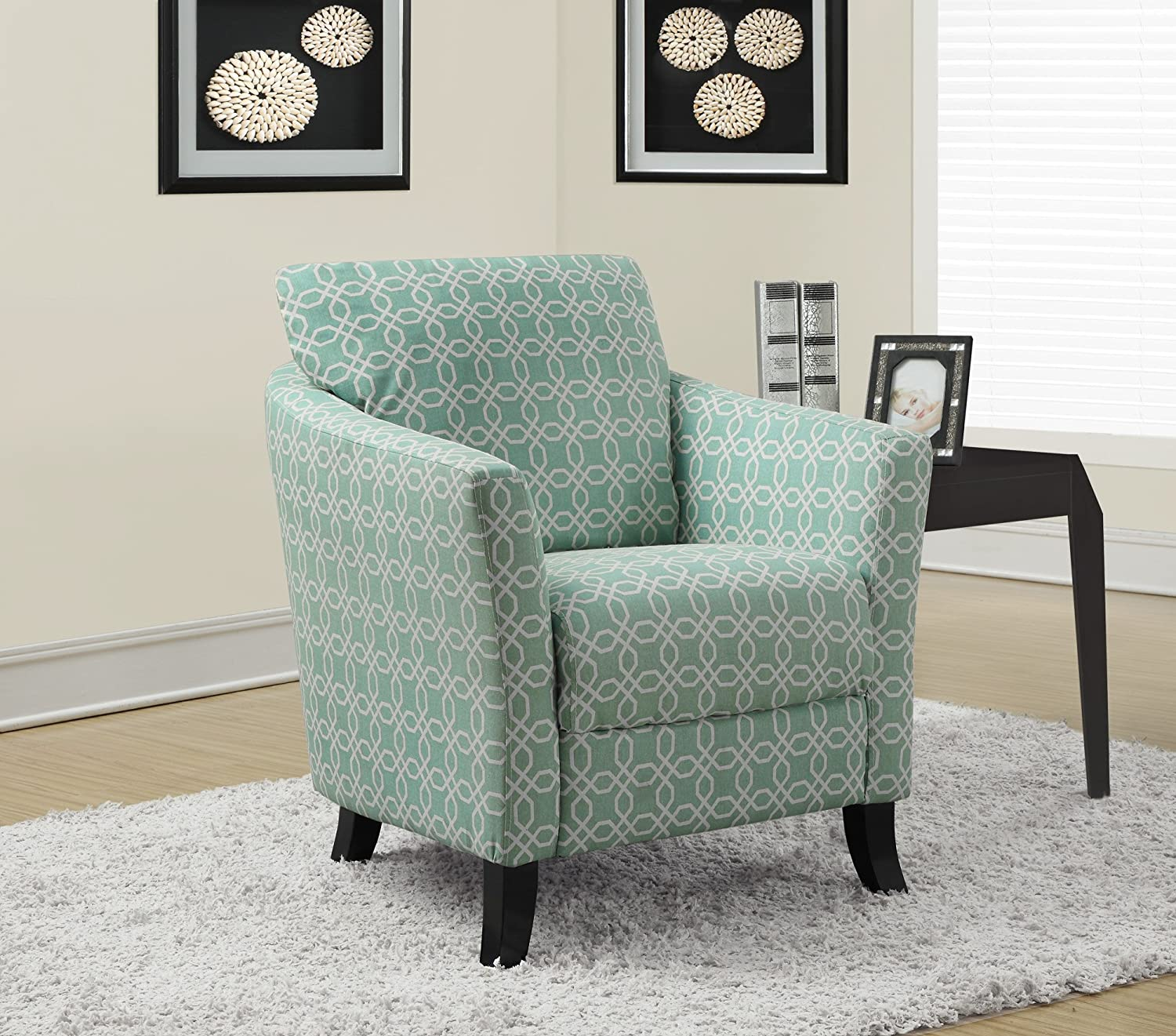 Faded Green Monarch Specialties Vintage French Fabric Accent Chair, Off-White