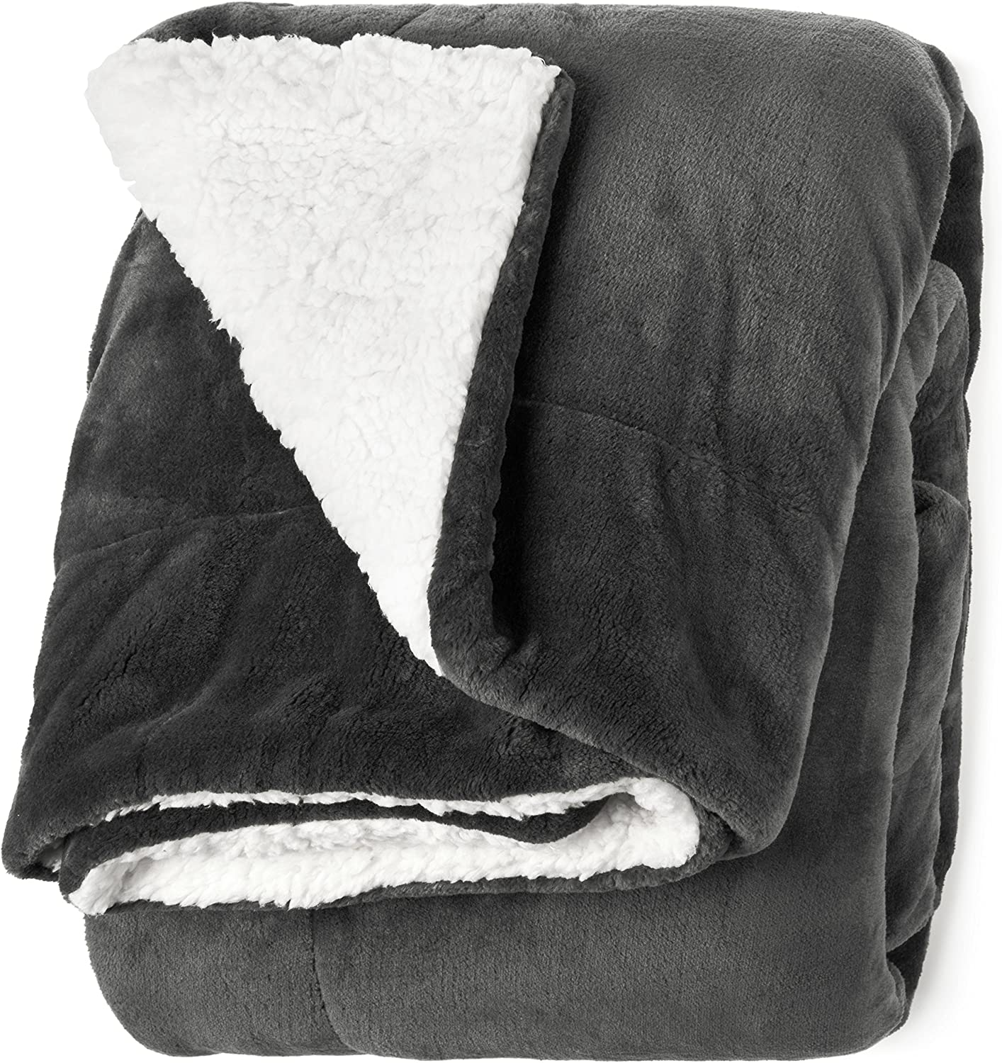 """Life Comfort Microfiber Plush Polyester 60""""x70"""" Large All Season Blanket for Bed or Couch Ultimate Sherpa Throw, Gray"""