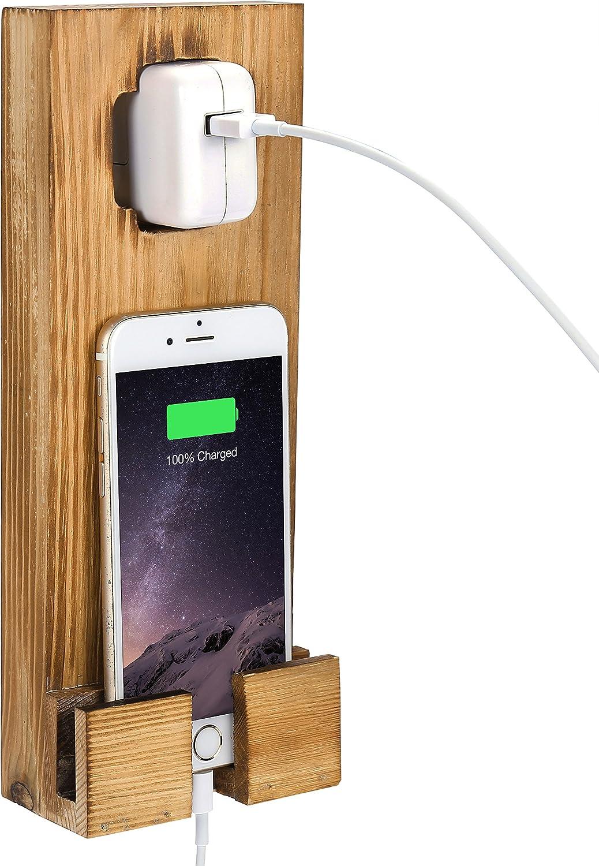 MyGift de madera pared socket-hanging Smartphone Base dock de ...