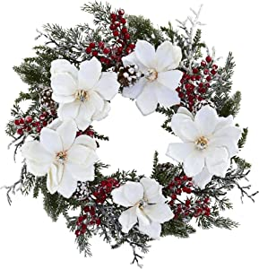 """Nearly Natural Magnolia & Berry 22"""" Snowed Magnolia and Berry Wreath, White/Green"""