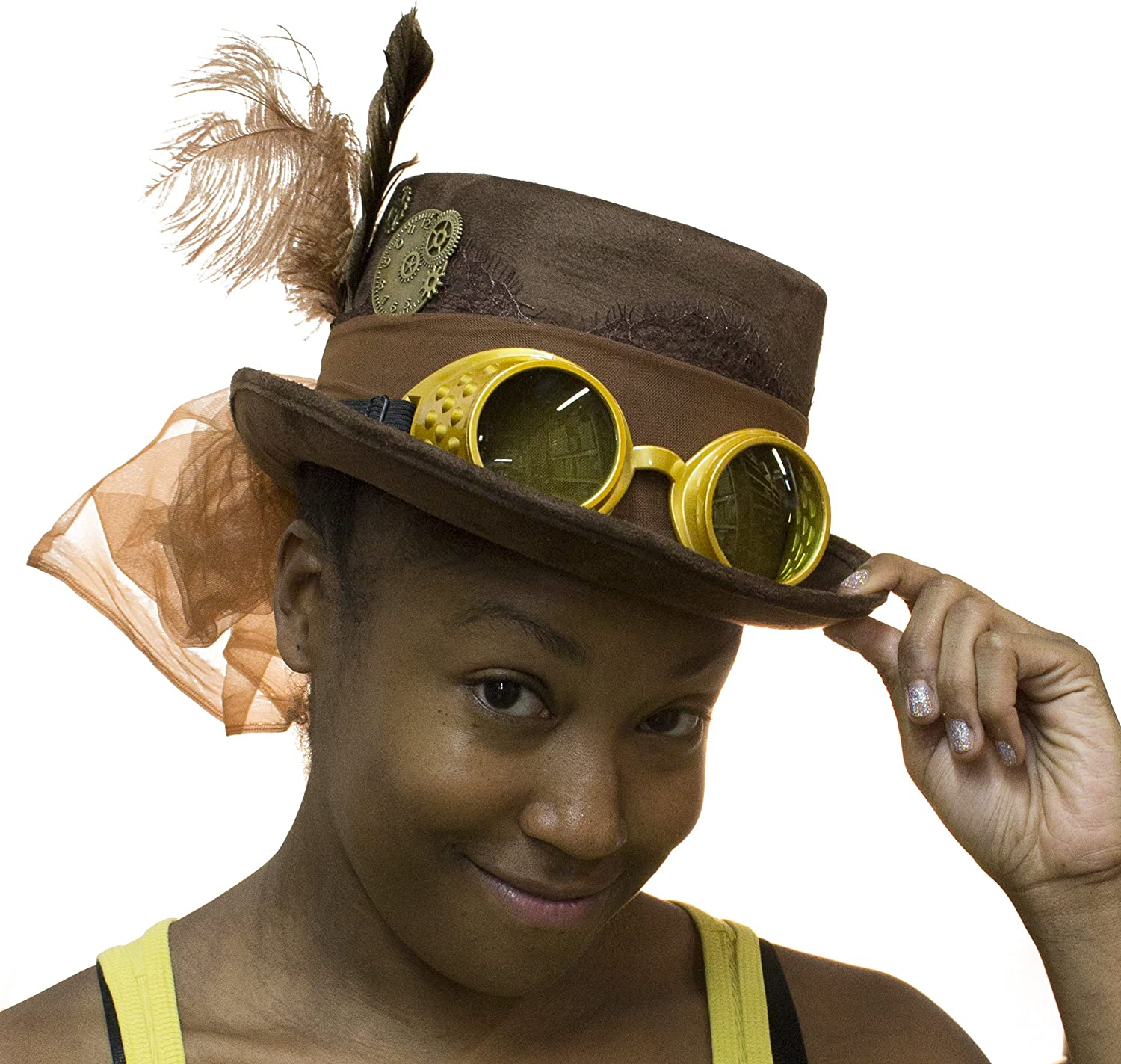 Steampunk Hats | Top Hats | Bowler Deluxe Velvet 4.25 Inch Steampunk Top Hat with Removable Goggles $24.49 AT vintagedancer.com