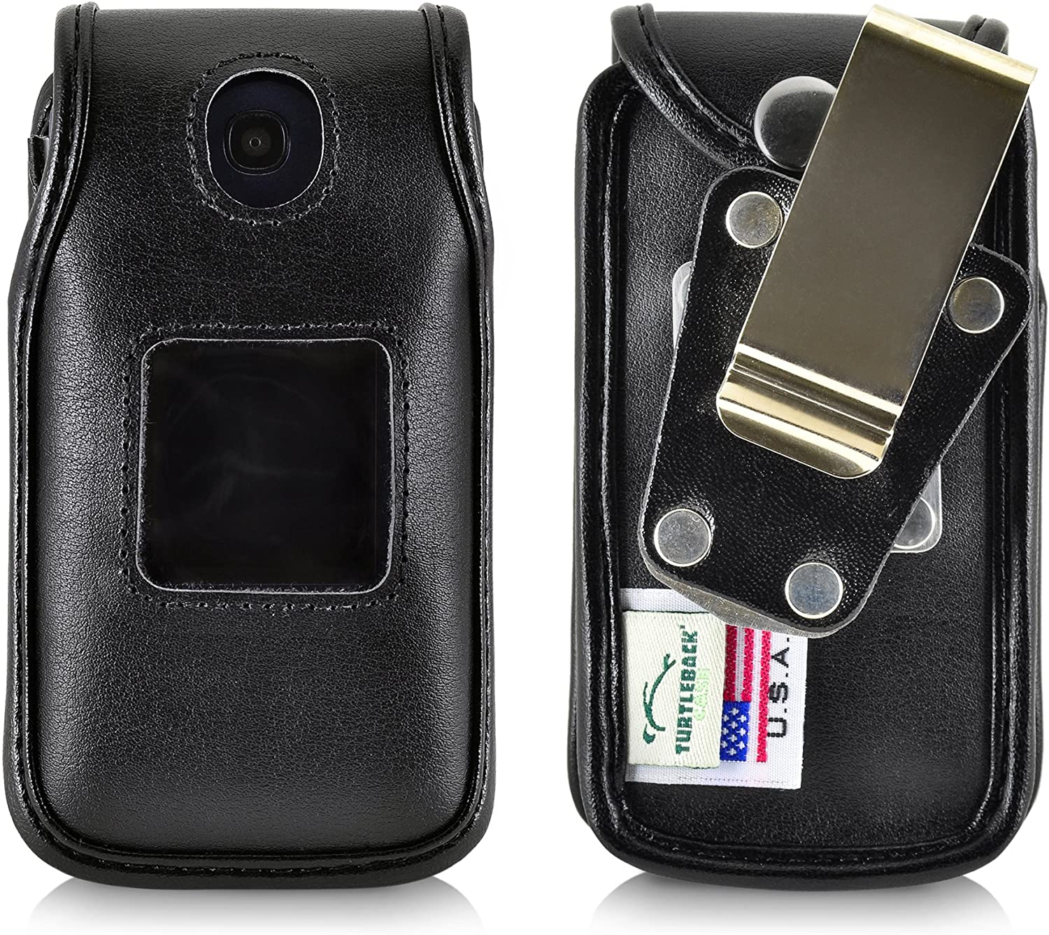 Turtleback Fitted Case for Consumer Cellular Alcatel GO FLIP, Flip V, Phone Also for ATT Cingular FLIP 2 and T-Mobile 4044W, MYFLIP (A405DL) with Metal Heavy Duty Ratcheting Removable Belt Clip