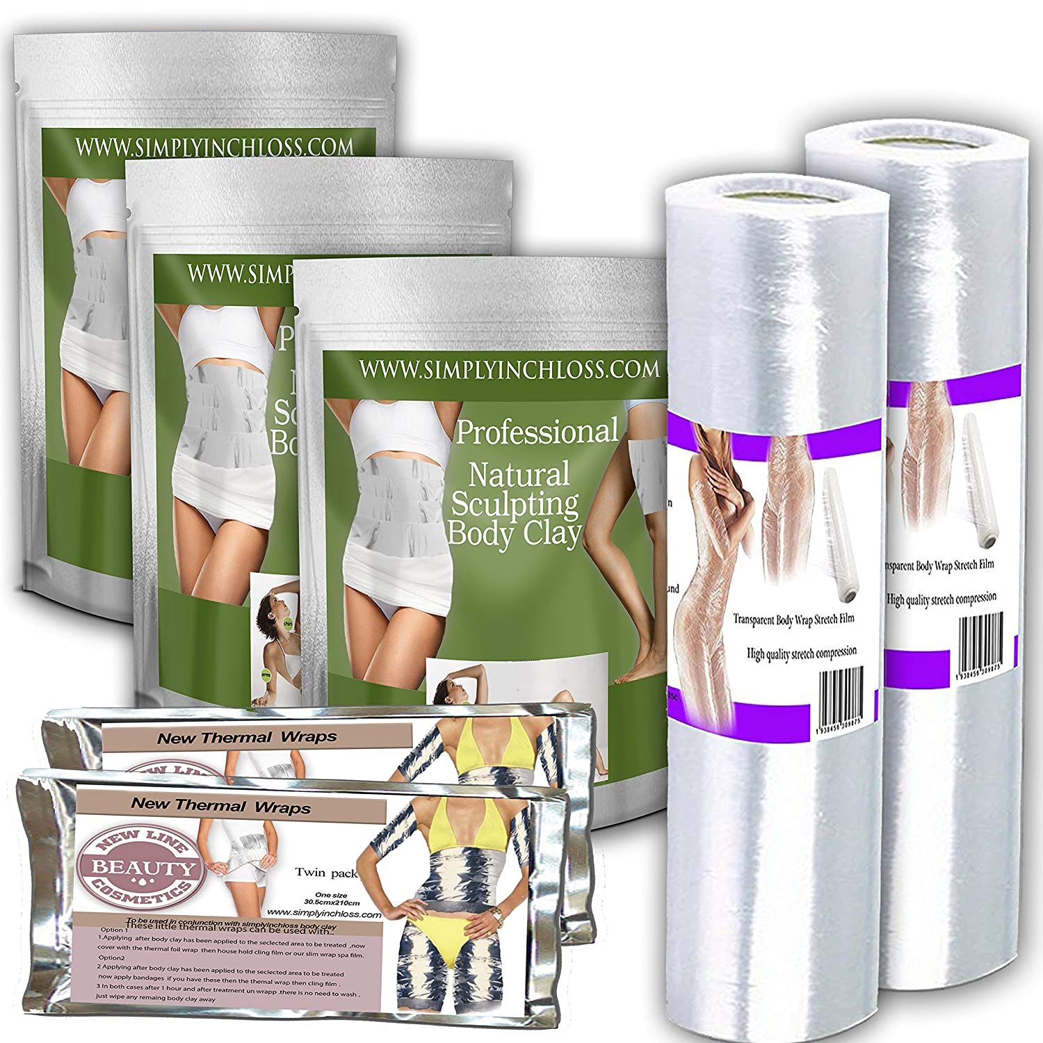 2 spa films 3 cosmetic body clay wrap pack 4 thermal sauna foil wraps home spa kit divineclay c-4567