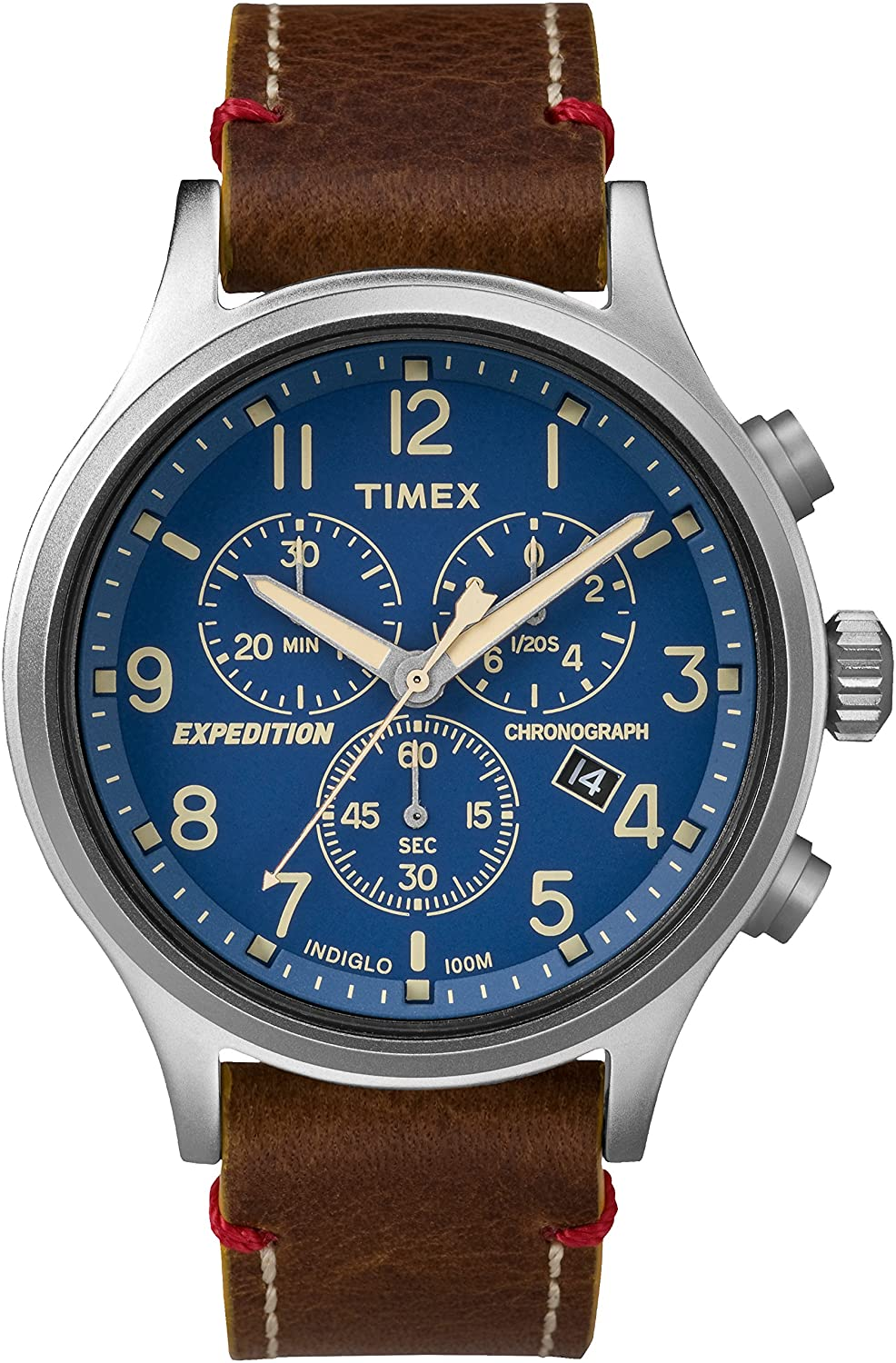 1fb6fd88d Timex Men's TW4B04400 Expedition Scout Chrono Tan/Green Leather Strap Watch:  Timex: Amazon.ca: Watches