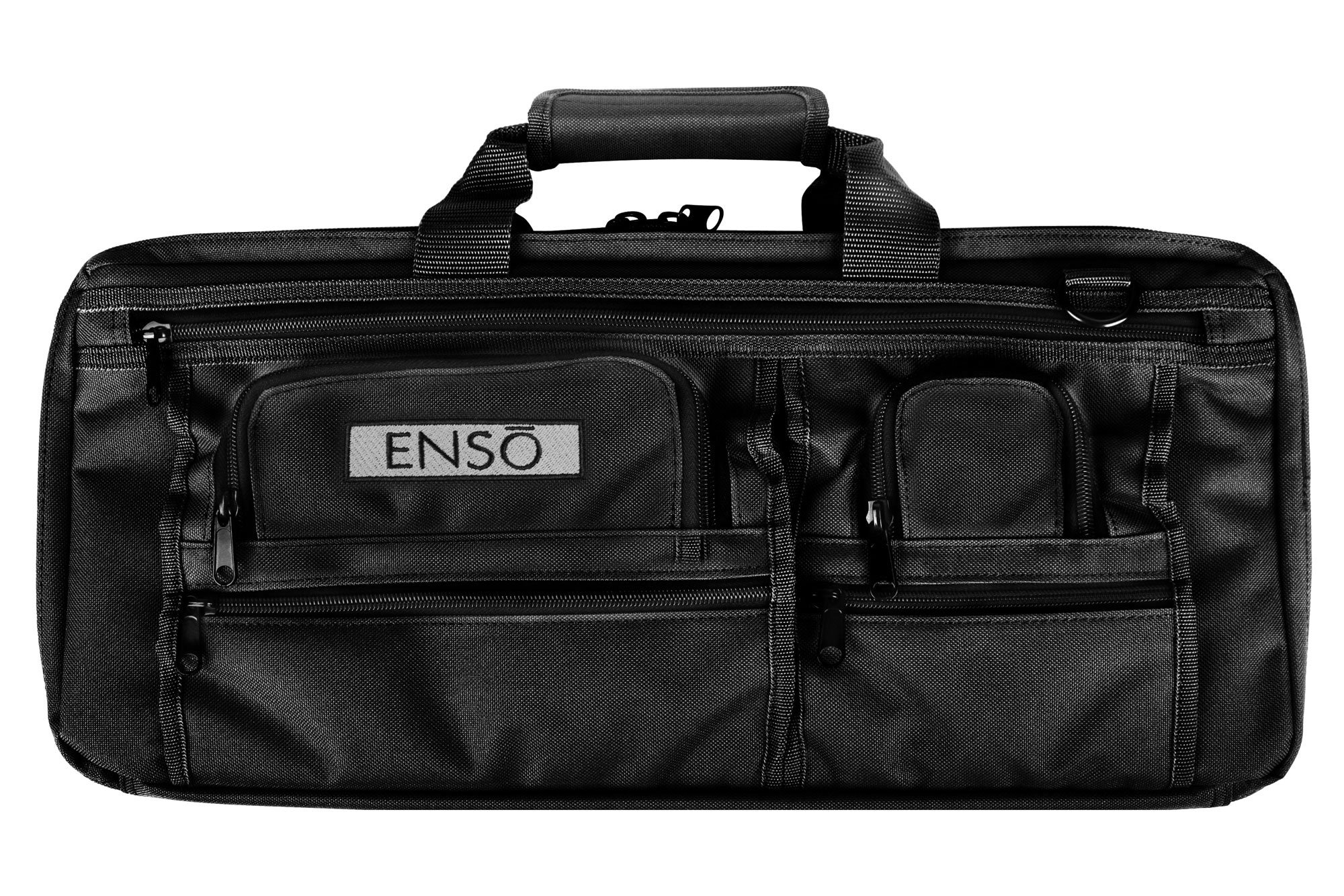 Enso Chef Knife Bag - 18 Pocket Professional Chefs Case - Canvas, Black