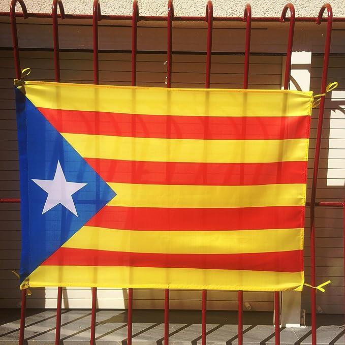 Bandera catalana independentista ideal para uso exterior en balcón | Bandera de Cataluña de buena calidad mediana y de poliéster con medidas 100x70 cm apropiada también para uso interior: Amazon.es: Deportes y