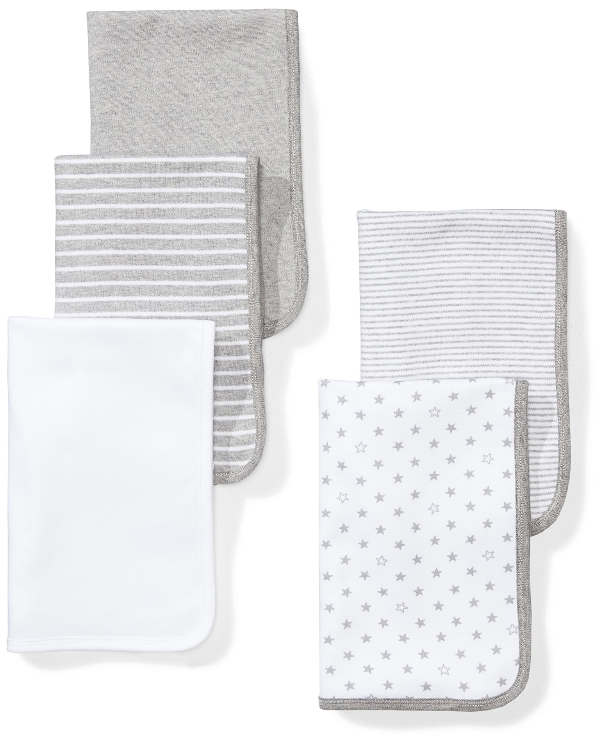 Moon and Back Baby Set of 5 Organic Reversible Lined Burp Cloths, Grey Heather, One Size