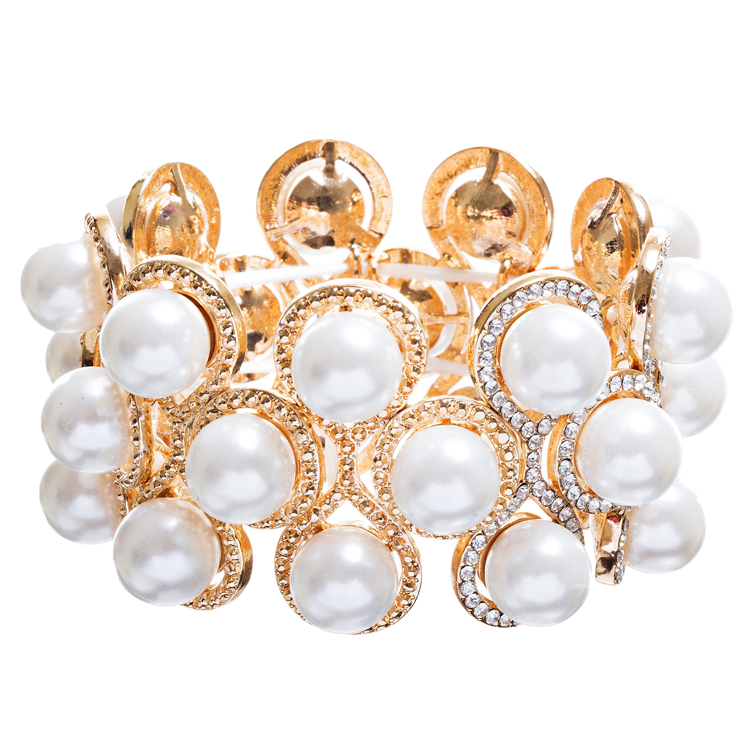 ACCESSORIESFOREVER Bridal Wedding Jewelry Crystal Rhinestone Impressive Faux Pearl Bracelet B499 Gold