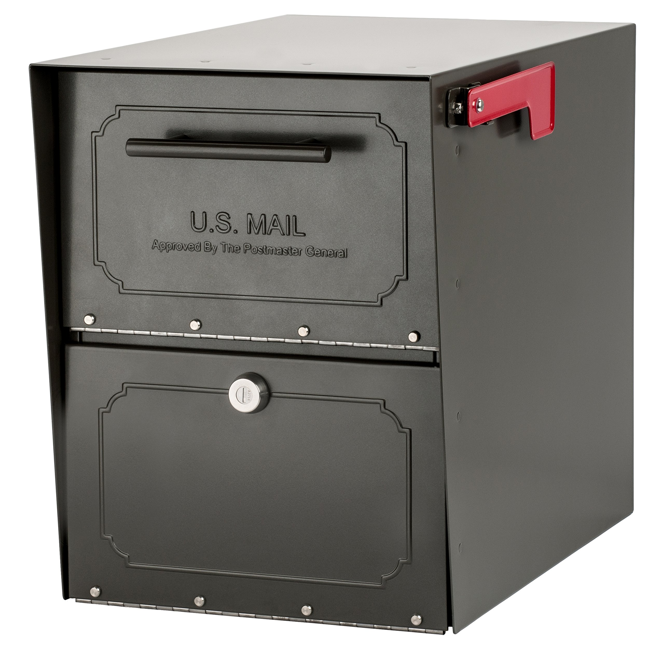 Architectural Mailboxes 6200Z-10 Oasis Classic Locking Post Mount Mailbox, Graphite Bronze by ARCHITECTURAL MAILBOXES