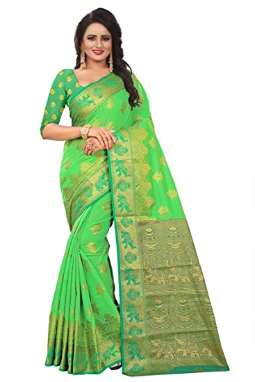 7c5e5f1a59 CARTY SHOP Women's Traditional Art Cotton Banarasi Silk Sarees For Women  Kanjivaram Style With Blouse(
