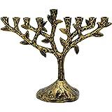 Menorah Tree Of Life - Textured Brass