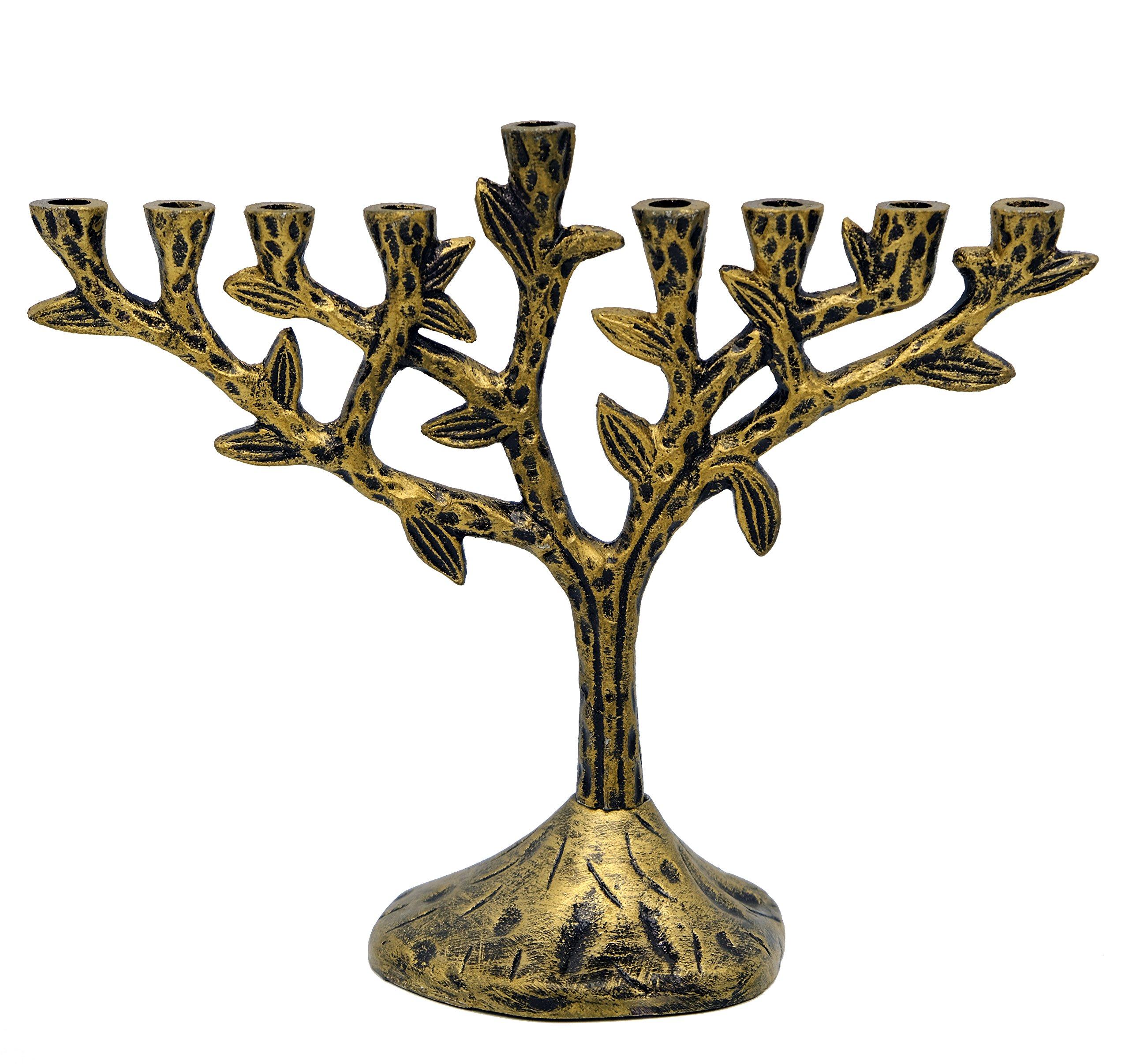 The Dreidel Company Menorah Tree of Life - Textured Brass