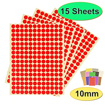 1050 Self Adhesive Round 8mm Sticky Dots Labels Stickers Coloured