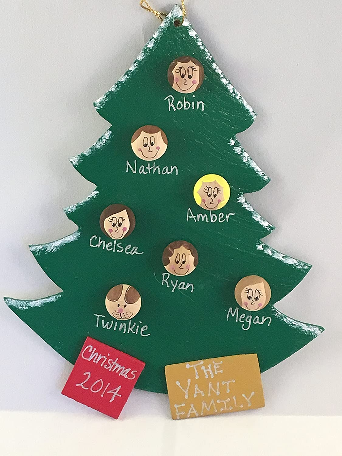 Amazon.com: Personalized Family Christmas Tree Ornament - Up to 16 ...