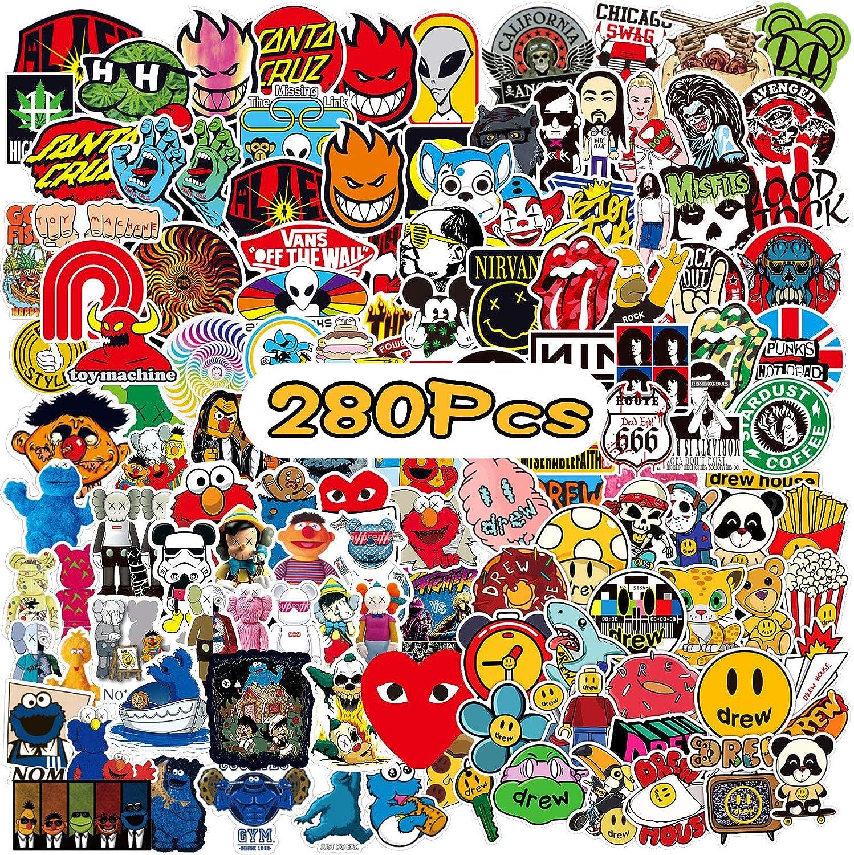 WOTEK Pegatinas, 280PCS Pegatinas Moto Impermeable y Repetible, DIY Pegatinas Skate HD con PCV y Vinilos, Juego de Stickers Amplio Uso para Maleta, Patineta, Móvil, Ordenador, Botella, Bicicleta, Moto