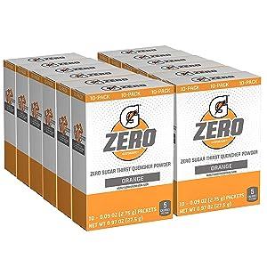 Gatorade G Zero Powder, Orange, 0.10oz Packets (120 Pack)