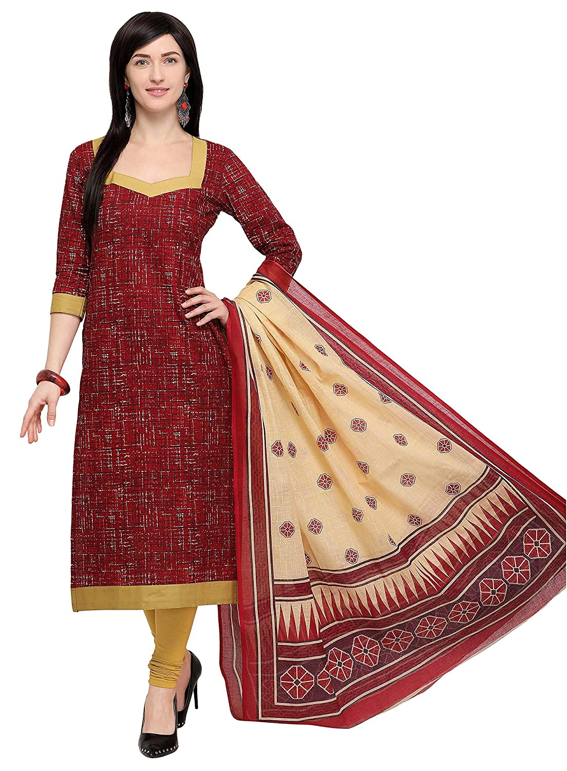 Vaamsi Women's cotton Dress Material (Deep1061_ Brown_ One Size)