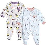 Pekkle Baby 2-Pack Footed Sleeper, Snap, Sleep & Play Onesie Unisex Pajamas, Purple/Blue, 3 Months