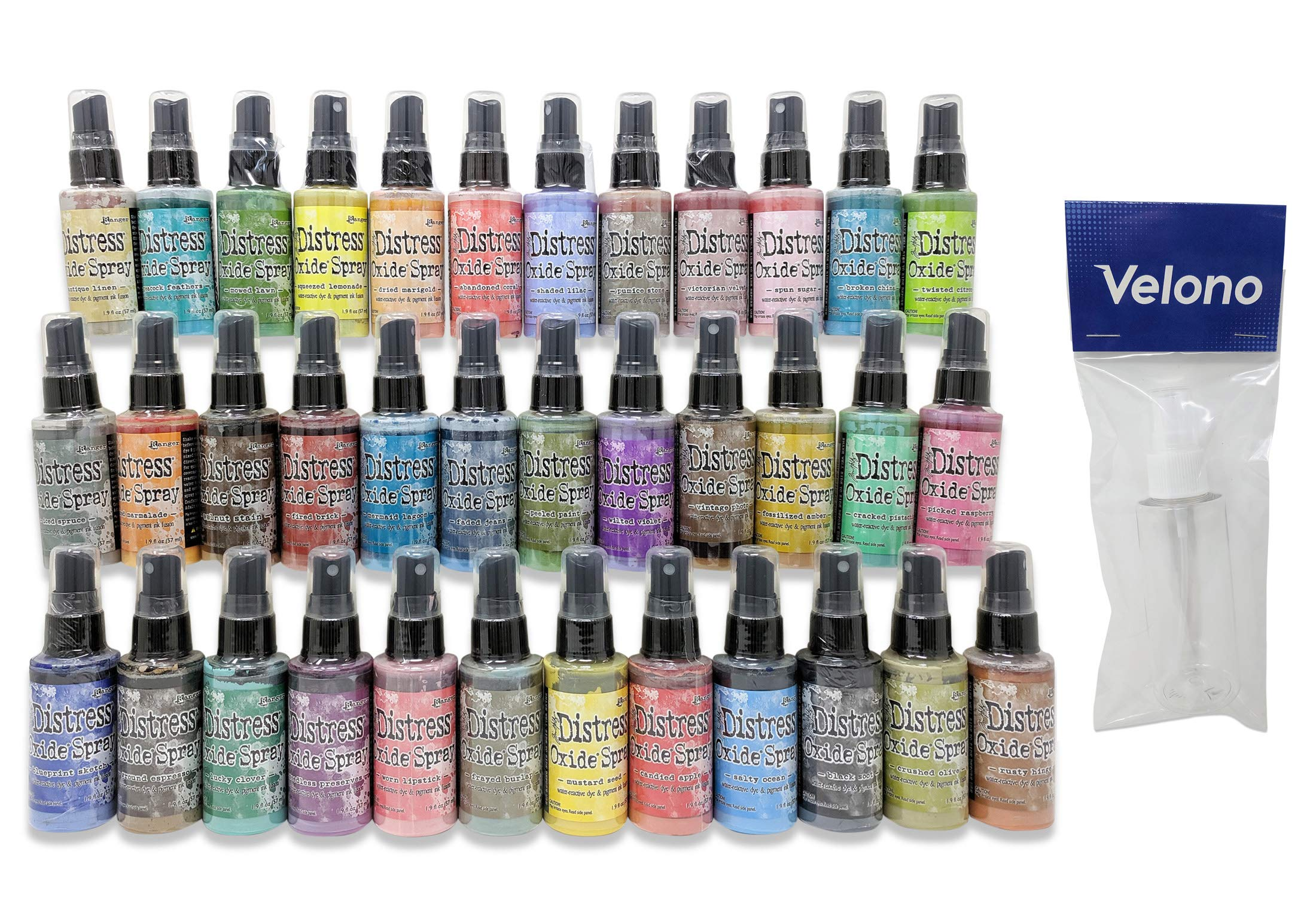 Ranger Tim Holtz Distress Oxide Spray 37-Piece Bundle, 36x Distress Oxide Ink Spray 2oz Bottles (Releases 1, 2 and 3), 1x Velono 2oz Clear Spray Bottle by Velono