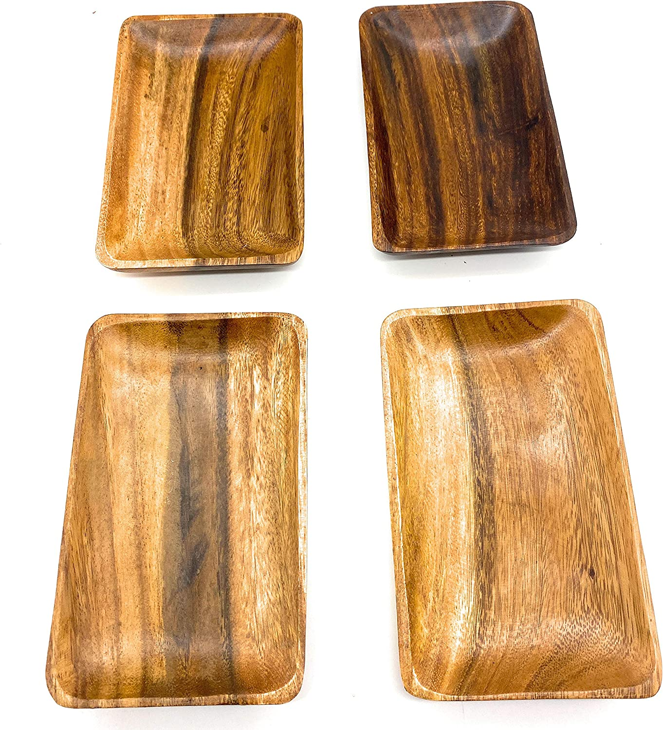 """SDS Home Imports Acacia Wood Rectangular Trays Tortillas and More Hawaiian Style Latin Style 4 2 SIZES! (SMALL 8"""" X 4"""")"""