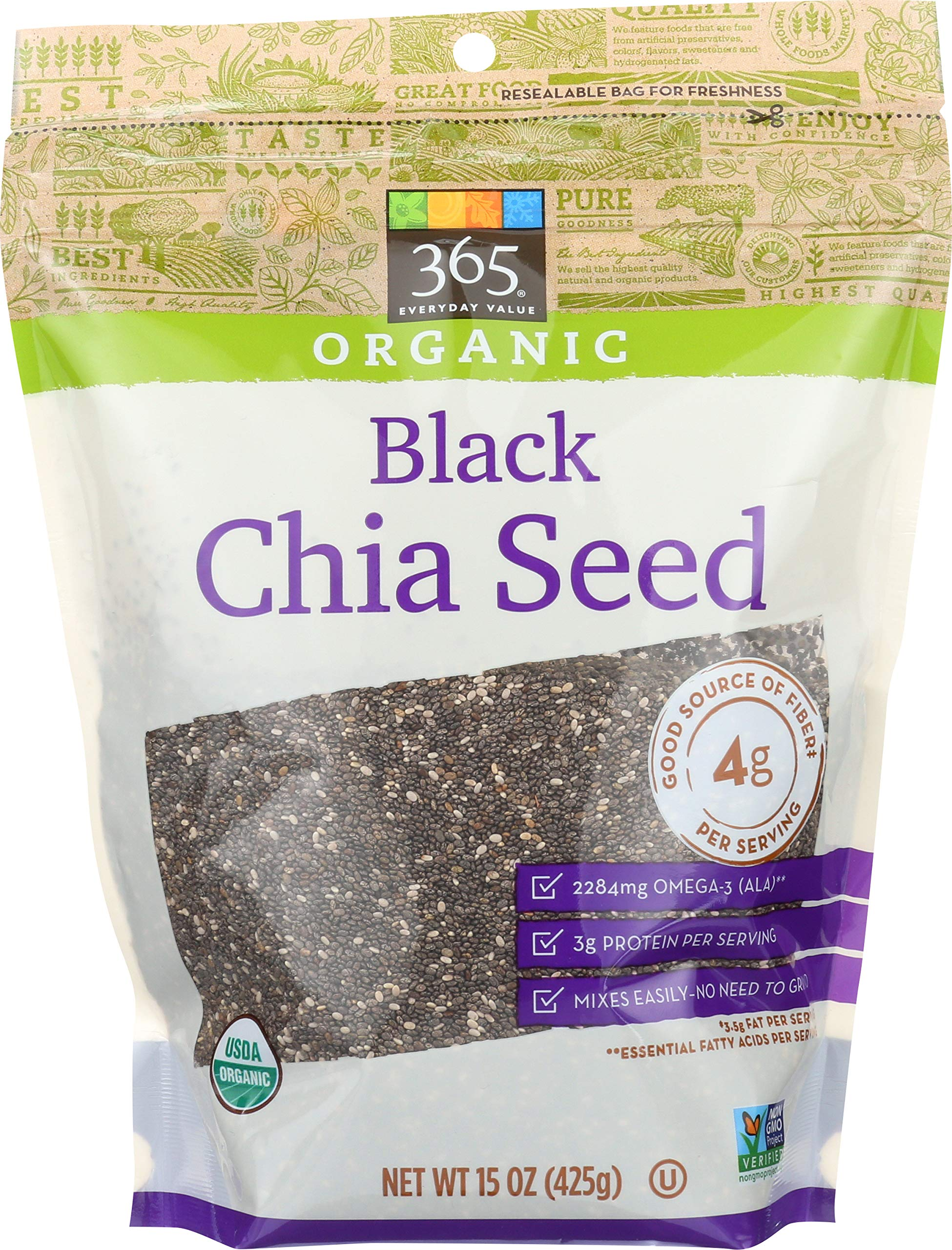 365 by Whole Foods Market, Organic Seeds, Black Chia, 15 Ounce